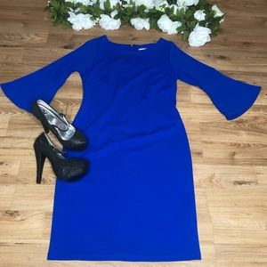 Shelby & Palmer Royal Blue Bell Sleeve Midi Dress
